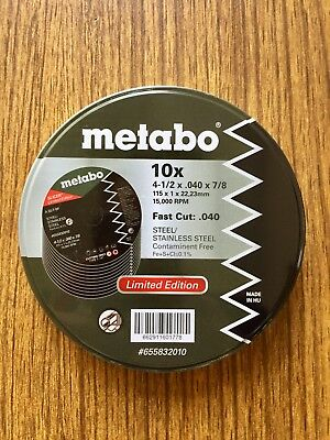 """Metabo 4-1/2"""" x .040"""" x 7/8"""" Cut Off Slicer Wheel Stainless 15000 RPM 10 Pack"""