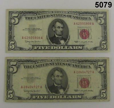 1929 United States $5 Note  1 Vf+, 1 Fine+  Lot Of Two $5. Notes #5079