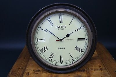 Smiths Enfield Wall Clock Mahogany & Brass Victorian Station School Factory TLC