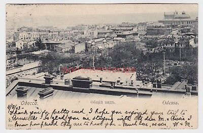 RUSSIA ODESSA ROOFTOP VIEW OF THE CITY POSTCARD 1903 Cds to London - RU76