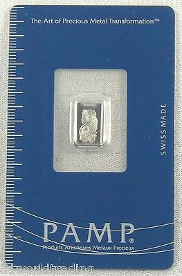 1 Gram Pamp Suisse Platinum Fortuna Bar .9995 Fine In Assay Card