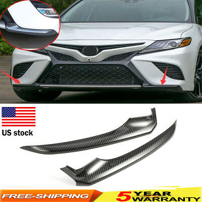 OEM Front Carbon Fiber Bumper Lip Corner Cover Trim For Toyota Camry 2018 2PCS