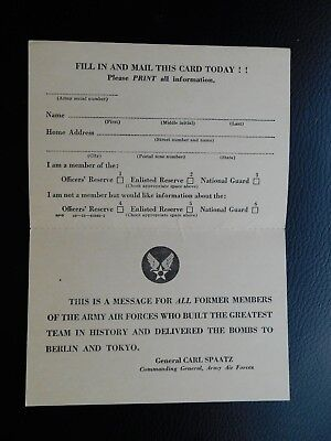 WWII GENERAL CARL SPAATZ WAR DEPT HQ ARMY AIR FORCE CARD w REPLY !! MILITARY WAR