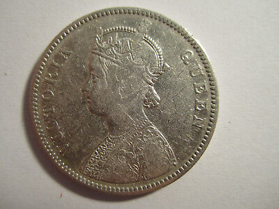 1862 British India queen Victoria One Rupee Silver Coin AS SHOWN *4064