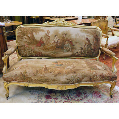 19th Century Louis XVI Style Carved Giltwood Settee