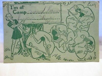 """1952  Girl Scout Camp Drawn Postcard  """" Im At Camp """" W/ Girl Scout Activities"""