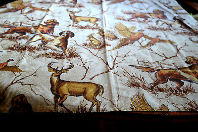 Vintage Fabric Tablecloth Hunting Dogs Deer Pheasent Rabbits