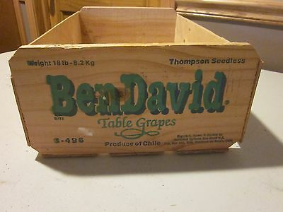 "BEN DAVID TABLE GRAPE Wooden Crate WOOD FRUIT BOX THOMPSON SEEDLESS 11""X6""X20"""