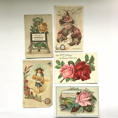 VICTORIAN Lot Of 5 Trade Cards SEWING themed ads