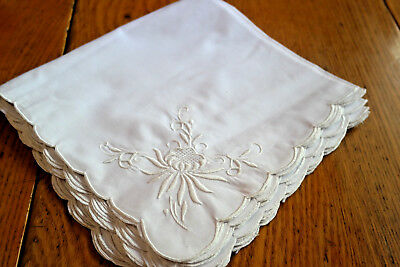 8 Vintage  Table Napkins White on White Floral Cutwork
