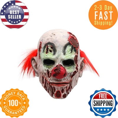Halloween Mask Scary Evil Clown Horror Mask Costume With Red Hair For Halloween.