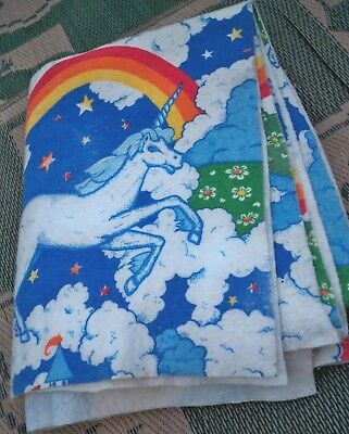 VINTAGE UNICORN Flannel Blanket Bedspread castle rainbows 68x94""