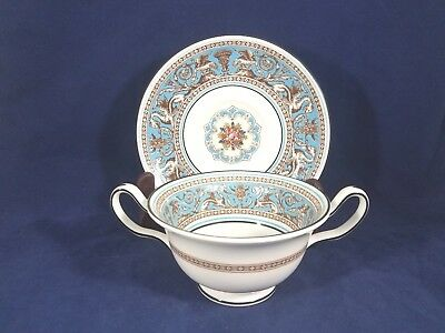 """Wedgwood TURQUOISE FLORENTINE (W2714 FRUIT) Cream Soup Cup & Saucer 2 3/8"""""""