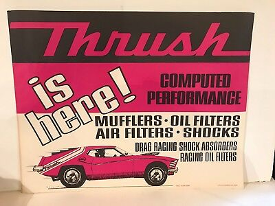 Vintage Original 1970's Thrush Mufflers Drag Racing Poster 22 X 17 Inches