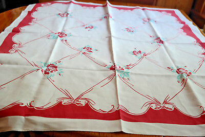 Vintage Tablecloth Roses Bows EARLY 1 Dye At Time