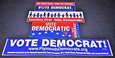 8 Vintage Vote Democratic Political Campaign Bumper Stickers- Families First