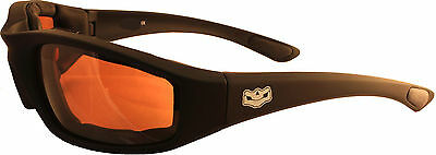 Motorcycle Padded Brown Driver Lens Daytona Biker Sunglasses + free pouch