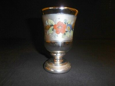 Mercury Glass Compote Goblet hand painted