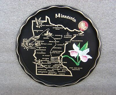 Vintage Minnesota 1858-1958 Centennial Black Tin Serving Tray Plate Free Ship
