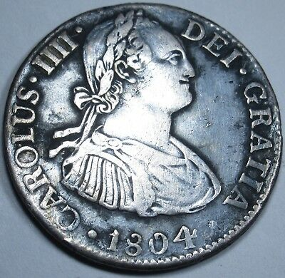 1804 TH XF Spanish Silver 2 Reales Piece of 8 Real Two Bits Old US Colonial Coin