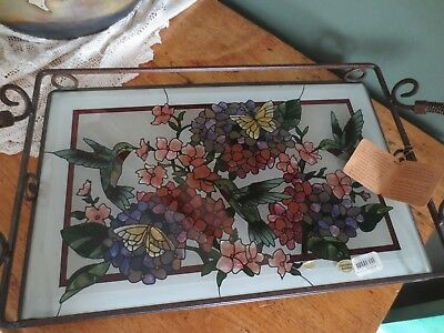 * Joan Baker * Hummingbird & Floral Hand Painted Glass & Handled Serving Tray *