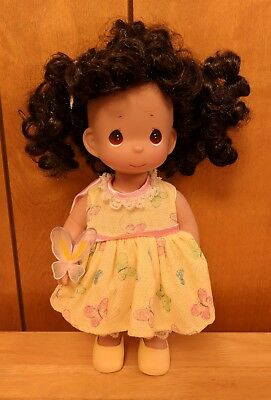 "Precious Moments Butterfly Brunette Curls Hispanic 12"" Vinyl Doll Yellow Dress"