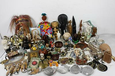 Vintage Assorted Collectible Junk Drawer Lot Trinket Wooden Carvings Figurines