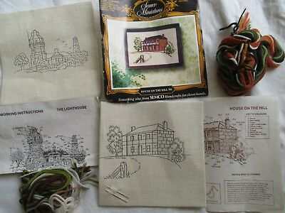 2 Unworked Linen pre-printed SEMCO MINIATURES Kits  HOUSE/LIGHTHOUSE with wools