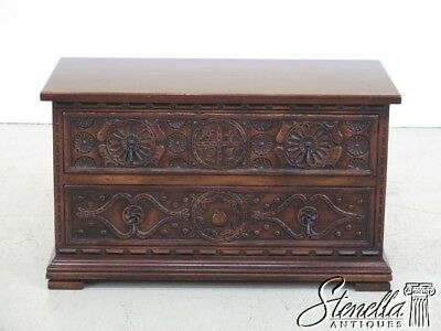 45068EC: JOHN WIDDICOMB Carved 2 Drawer Jacobean Accent Chest