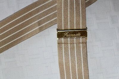 FACONNABLE Made in England Tan White w/ Brown Leather Fittings Braces Suspender