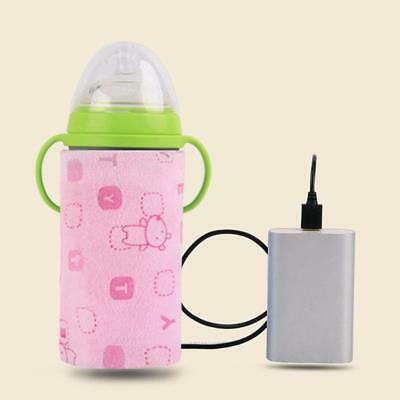 Portable USB Bottle Warmer Heat Travel Baby Milk Water Thermostat Cover Pouch