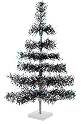 24'' Black/Silver Christmas Tree Tinsel Feather Style Holiday Tree 2FT Table-Top