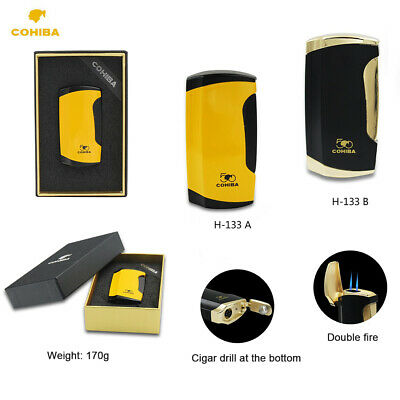 Cohiba 1 piece Dual Metal Cigar Cigarette Lighter With Punch Torch Jet Flame