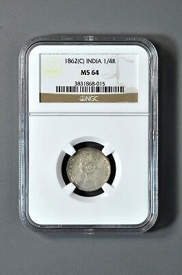 British India 1862 (C) 1/4 Rupee Silver Coin Victoria, NGC MS-64 Wow!