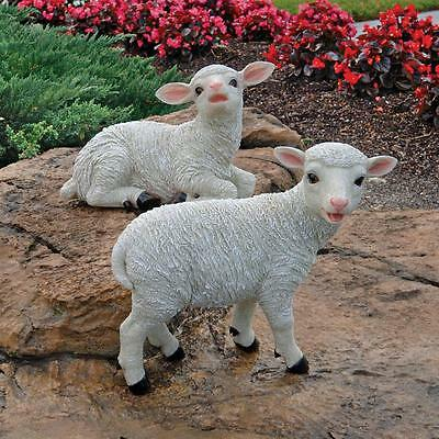 Yorkshire Sitting And Standing Lambs Design Toscano Exclusive Garden Statues