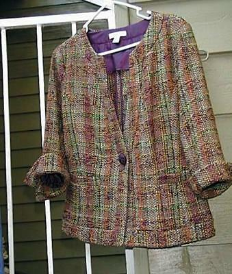 Coldwater Creek Multi-Color Woven Tweed Jacket W/ 3/4 Notched Cuffed Sleeves 10
