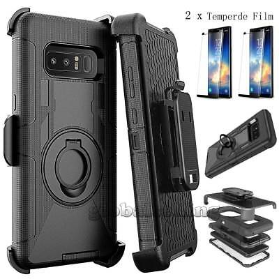 For Samsung Galaxy Note 9/5/S8/S9 Plus Armor Cover Case w/Screen Protector &Clip