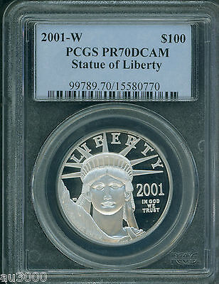 2001-W $100 PLATINUM EAGLE STATUE OF LIBERTY 1 Oz. PCGS PF70 PROOF PR70 KEY DATE