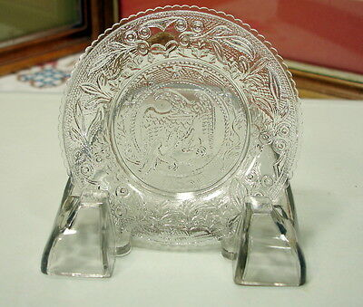 """Vintage Pressed Glass 3 1/2"""" Eagle Cup Plate"""