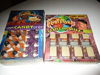 2 Display Box THE FLINTSTONES Familie Feuerstein Candy Figures 1993 TOPPS