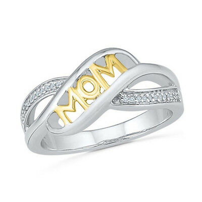 """""""Love Mom"""" Silver Crystal Ring Mother Mum Birthday Gift Women's Jewelry"""