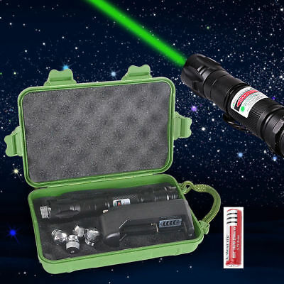 Green Pointer Laser Pen Boxed Adjustable Focus 532nm 1Mw+18650 Battery Charger L