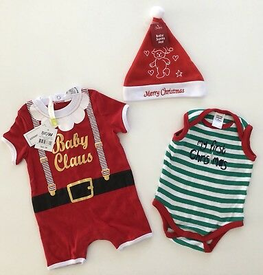 Baby Christmas My First Christmas Outfits Bodysuits Hat Baby Claus Size 00