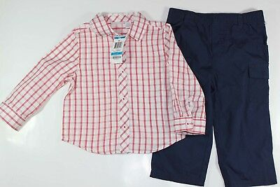 First Impressions Boy's Toddler Long Sleeve Plaid Shirt Outfit Navy Pants 24M 2T