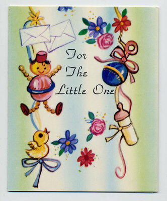 BABY Gift Greeting CARD Toys Rattles Baby Bottle Vintage UNUSED 1969