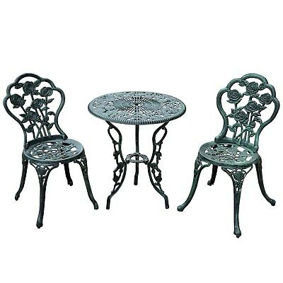 Outsunny 3 Piece Outdoor Cast Iron Patio Furniture Antique Style Dining Chair &