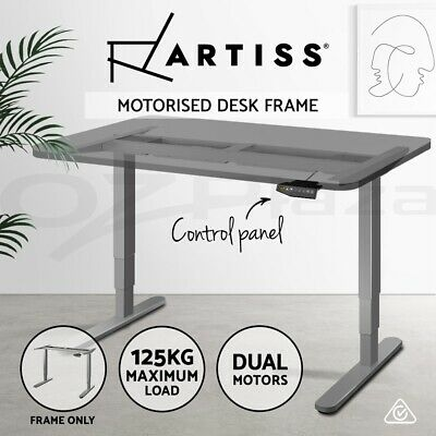 Artiss Motorised Height Adjustable Standing Desk Frame Electric Dual Motor Grey