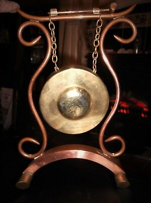 Antique Brass Small Dinner Table Gong & Striker On Ornate Copper Stand 10""
