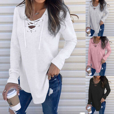 Women's V Neck Lace up Bandage Long Sleeve T-Shirt Tops Autumn Pullover Blouse