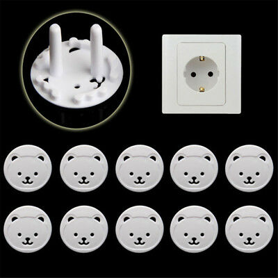 10Pcs Power Kid Socket Cover Child Baby Protector Guard Mains Point Plug Bear